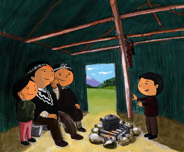 """Adivinanza"""". Ilustración para libro de Lectura Mapuche para niños"""